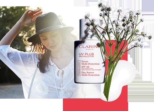 Mujer protegida con UV+ Anti-Pollution Clarins