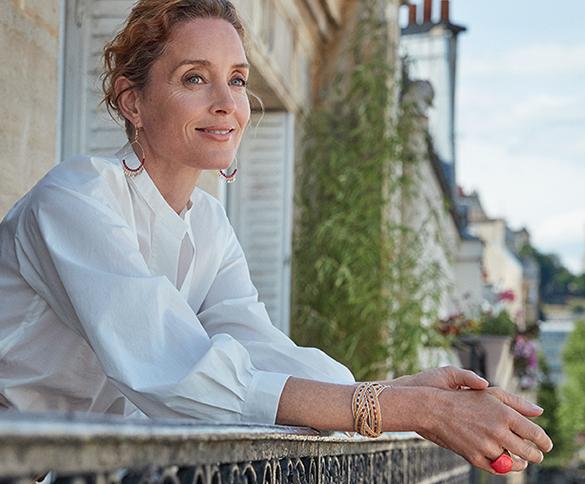 a woman watching outside