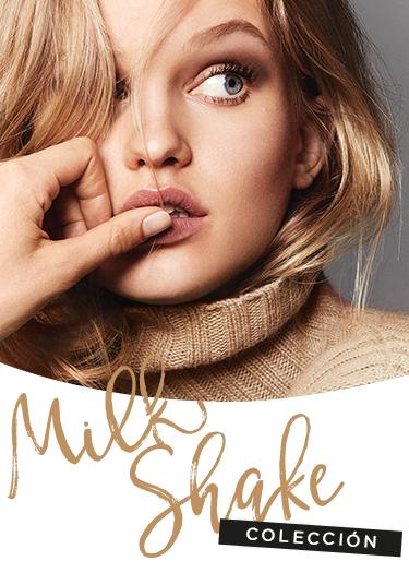 Modelo y logotipo de la colección Milk Shake
